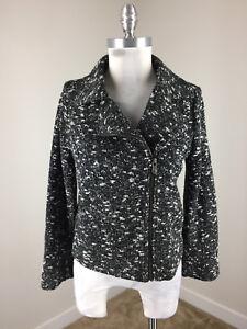 Banana-Republic-M-8-P-Black-White-Boucle-Moto-Jacket-Knit-Cotton-Excellent