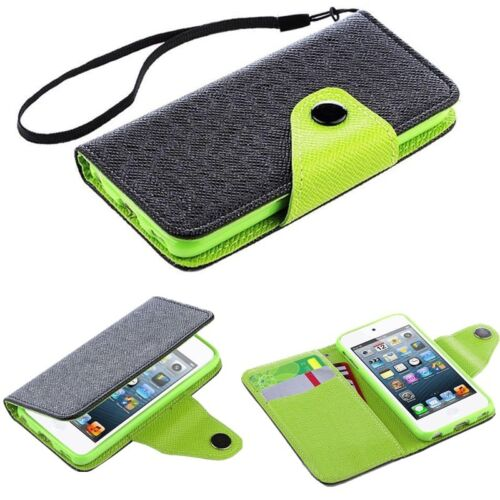 For Apple iPod Touch 6th //5th Gen Flip Leather Wallet Card Pouch Case Cover Skin