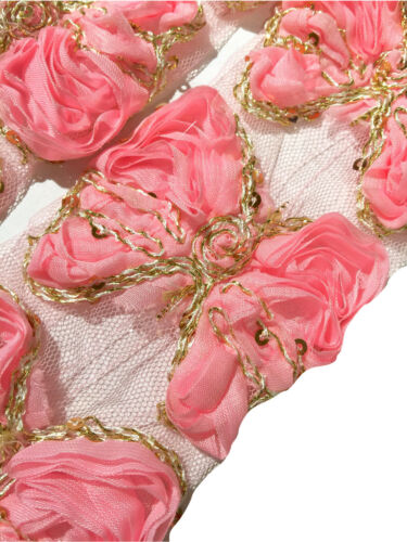 """3 pieces light pink 3/"""" sequin butterfly shabby chiffon rose trim"""