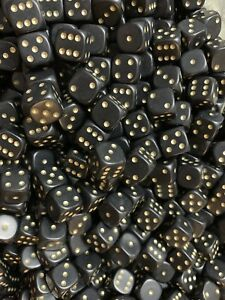 25-x-Black-Dice-D6-12mm-Gold-pips-Spots-RPG-Warhammer-40k