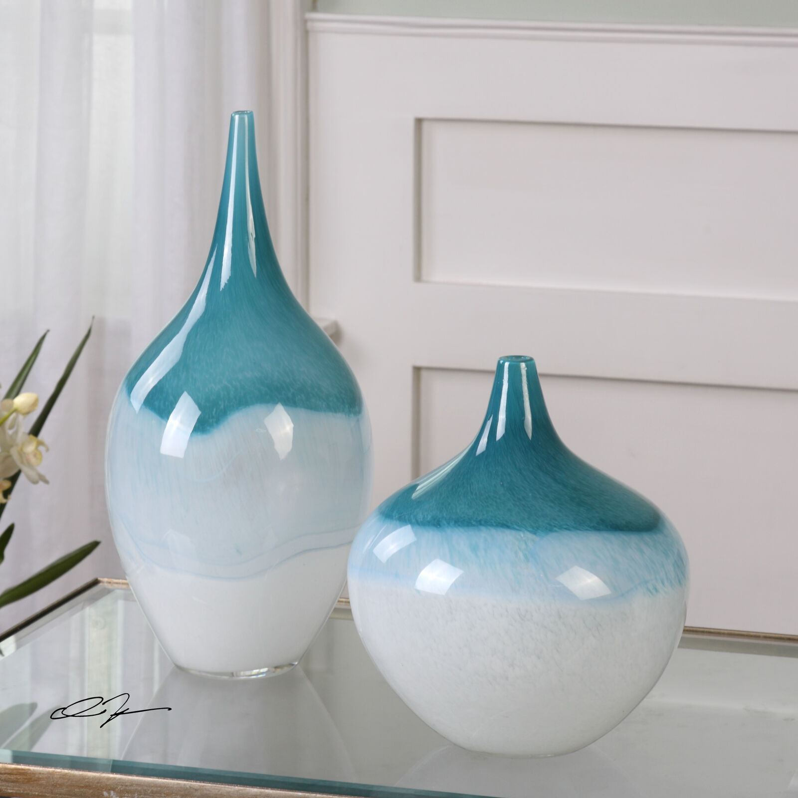 Large Large Large Teardop Shape Glass Vase Set Pair   Blau Grün Turquoise Elegant Sculpted b134f9