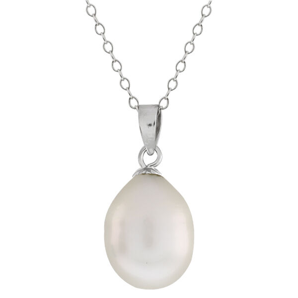 "925 Sterling Silver Tear Drop Cultured Freshwater Pearl Pendant on 18"" Chain"