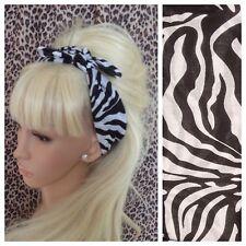 WHITE BLACK ZEBRA ANIMAL PRINT COTTON SQUARE BANDANA HEAD HAIR NECK SCARF RETRO