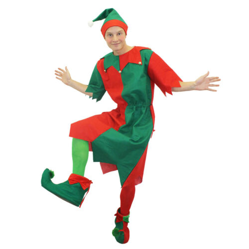 MENS ELF TUNIC COSTUME WITH SANTA PICK ME UP FUNNY CHRISTMAS NOVELTY FANCY DRESS