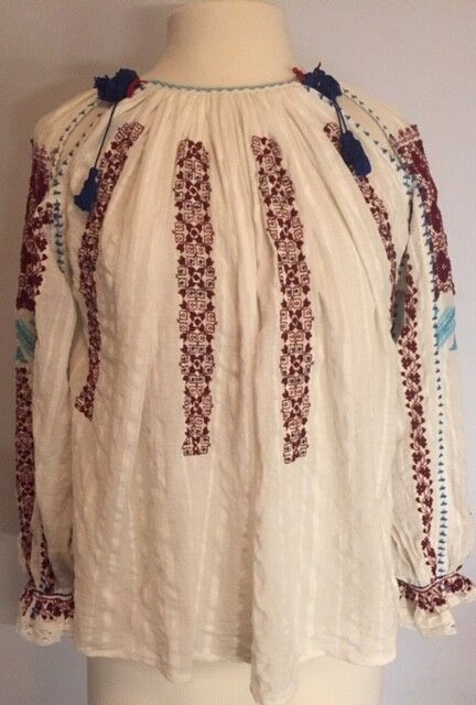 Ulla Johnson SZ 2 MILA Embroidered Cotton Peasant Long Sleeve Blouse Top
