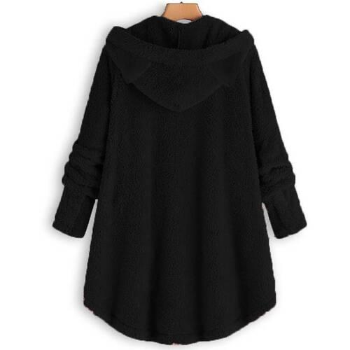 Women/'s Buttons Cat Ear Hoodie Fluffy Winter Warm Casual Hooded Coat Outwear Top