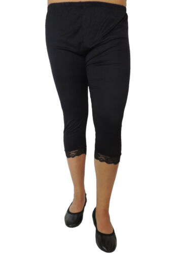 Leggings da donna corto con pizzo misura 46 48 50 52 54 MISURE GRANDI TINTA UNITA 105