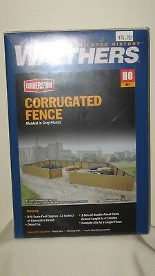 WALTHERS CORNERSTONE HO SCALE CORRUGATED FENCE SCL 240/' KIT 933-3632