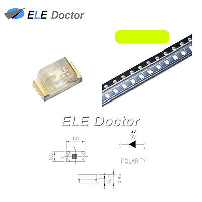 100PCS 0805(2012)SMD SMT LED Yellow Green Light Emitting Diodes Super Bright