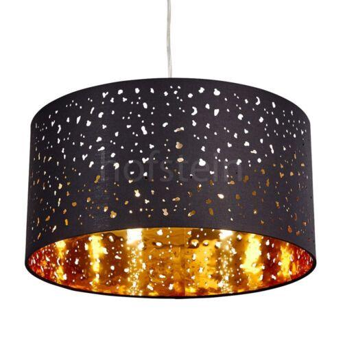 Stoff schwarz//gold Wohn Schlaf Ess Zimmer Raum Pendel Leuchten edle Hänge Lampen
