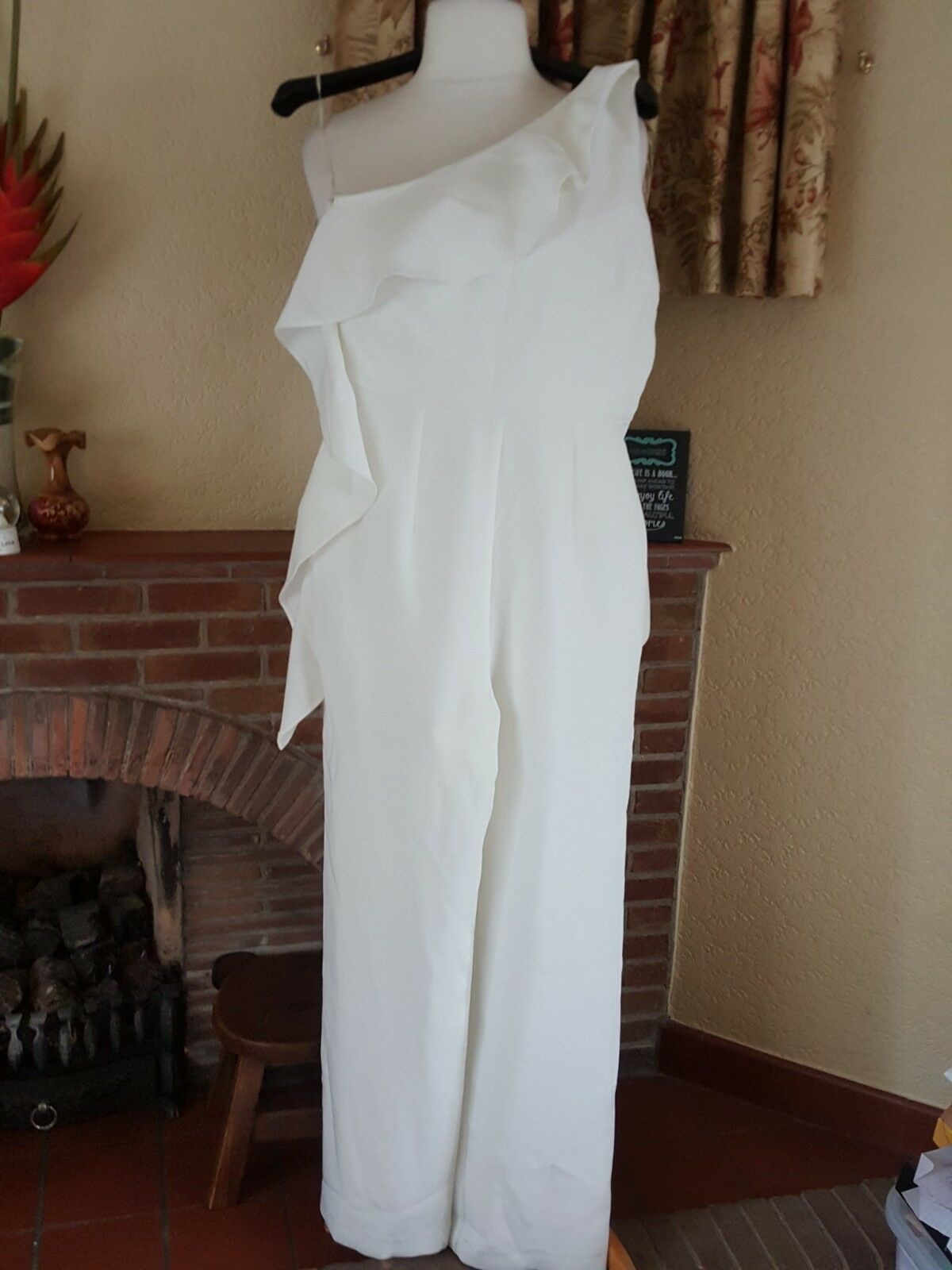 CREAM ONE SHOULDER FRILL JUMPSUIT FROM RIVER ISLAND LUXE EDITION SIZE 10 12