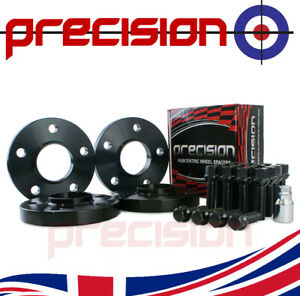 2 Pairs of Black 20mm Wheel Spacers with Bolts Nuts & Locks for Audi A6 10-17