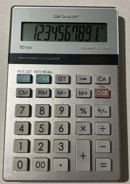 SHARP Elsimate EL-334M 10 Key Digit Calculator Twin Power Solar Calculator