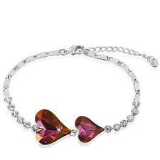 Sparkly Shiny Austria Crystal Clear Rinestone Silver Purple Pink Bracelet Bangle