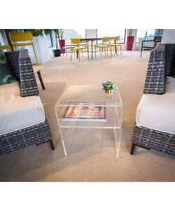 Tavolini Da Salotto Plexiglass.Tavolino Da Salotto Moderno Comodino In Plexiglass Con Ripiano