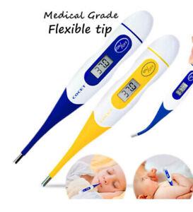Termometro-Digital-punta-flexible-Bebe-Nino-Adulto-fiebre-alarma-Apagado-automatico-LCD
