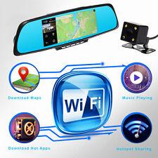 "7"" HD 1080P WiFi Bluetooth GPS Car DVR Dual Lens Camera Rearview Mirror UK STOCK"