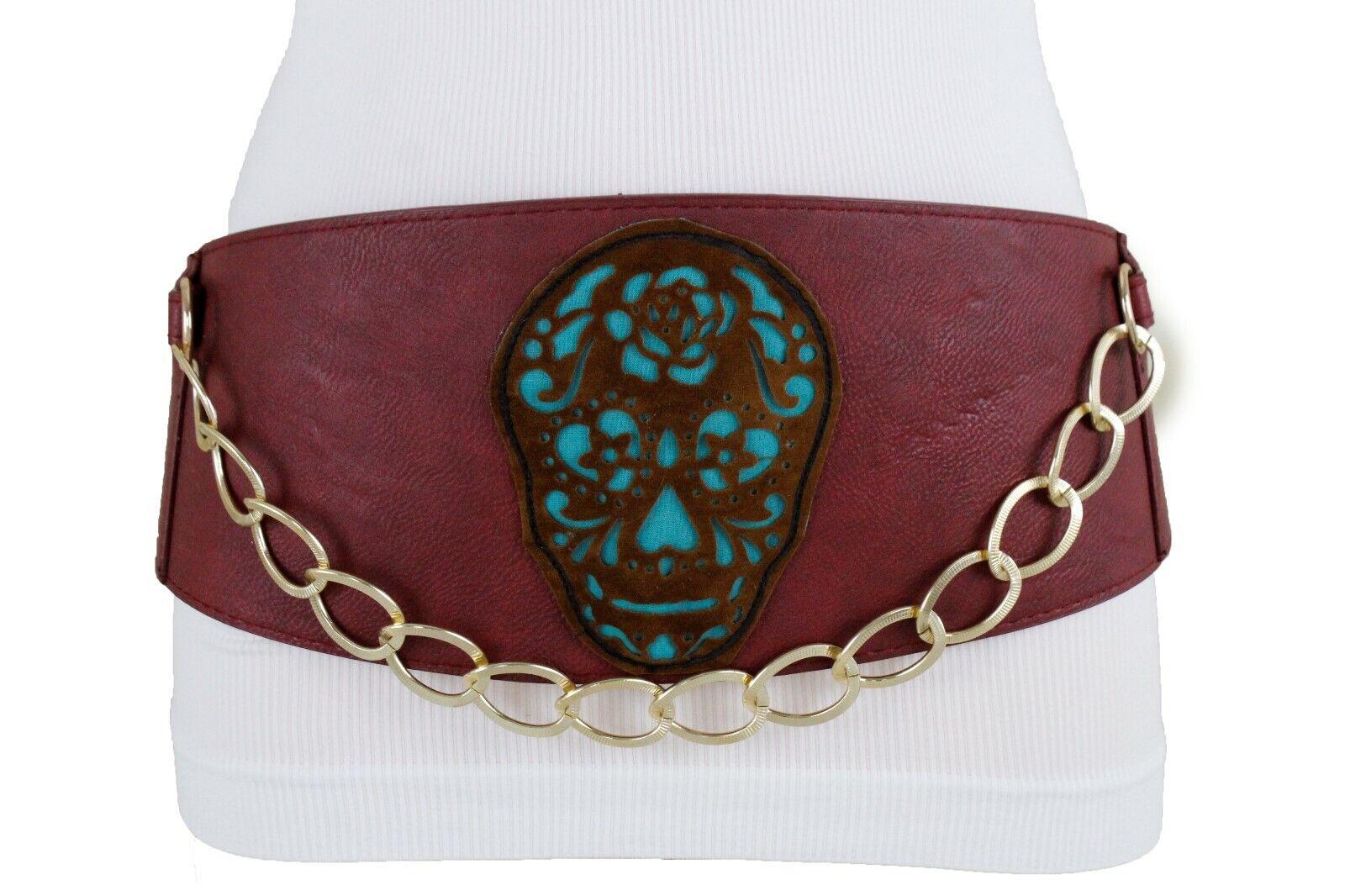 Women Wide Stretch Red Hip High Waist Belt Gold Metal Chain Turquiose Skull S M