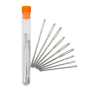 3 Sizes Silver Stainless Steel Sewing Tools Knitting Yarn Blunt Needles 9Pcs
