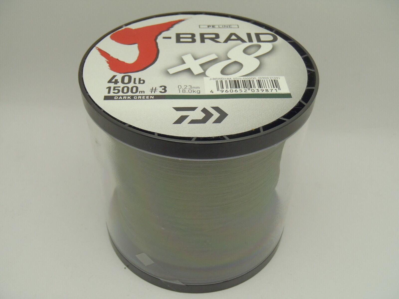 Daiwa JBraid 1500m 40lb 18.0kg 0.23mm  3 Braided PE x8 Fishing Line
