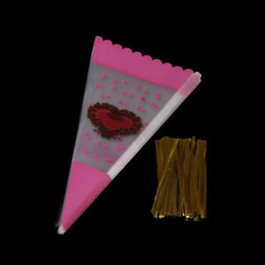100X-colorful-cone-shape-cellophane-bags-candy-sugar-popcorn-flower-packing-bag