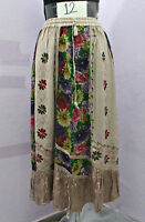 12 Hippy Embroidred Patchwork Goth Long Beach Skirt Boho Size 10 12 14 16 18 20