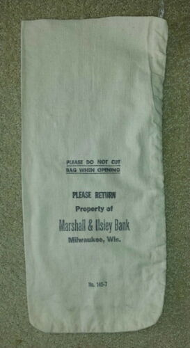 M/&I Marshall and Ilsley Bank Milwaukee WI  Cloth Bank Coin Bags  USED  Style #1