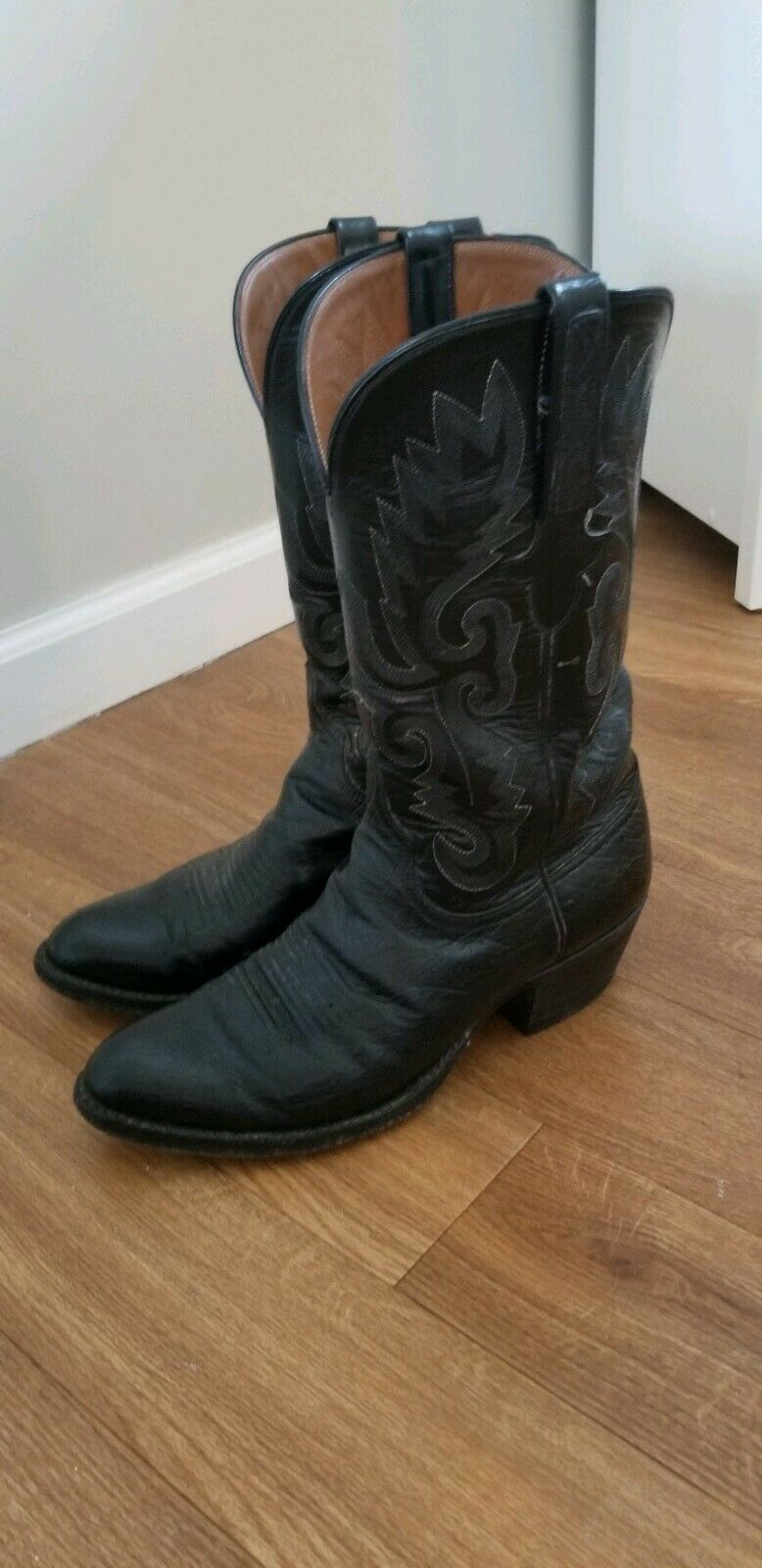 WOMENS LUCCHESE Black COWBOY BOOTS SIZE 8.5 D USA COWGIRL 8 1 2