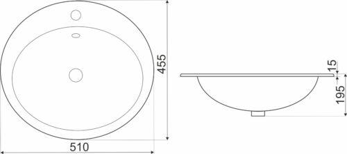 Design Keramik Einbauwaschbecken Einbauwaschschale Waschbecken Waschschale 132