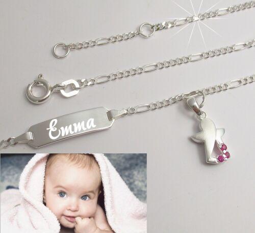 Paten Geschenk zur Taufe Schutzengel Baby Figaro Armband Namen Gravur 925 Silber