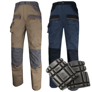 Delta-Plus-Corporate-Polycotton-Mens-Cargo-Work-Trousers-Pants-Knee-Pad-Pockets