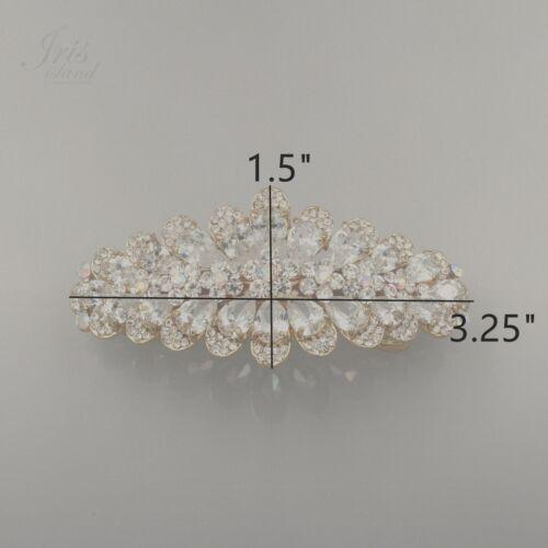 18K GP Flower Clear Rhinestone Crystal CZ Alloy Barrette Hair Clip pin 03689 New