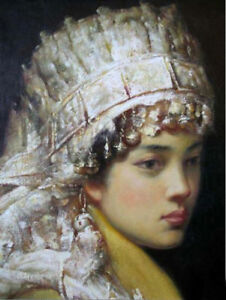 LMOP308-chinese-fancy-tibet-minority-girl-portrait-OIL-PAINTING-art-on-CANVAS