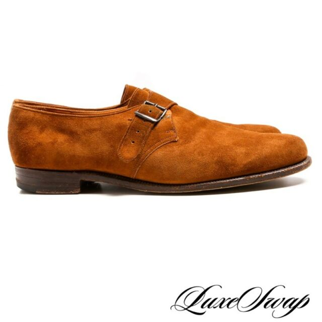 Edward Green Made in England Troon Clove Tobacco Suede Monkstrap 201 Shoes 9 A1P