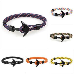 Handmade-Men-039-s-Black-Alloy-Anchor-Polyester-Rope-Wristband-Bracelet-Jewelry