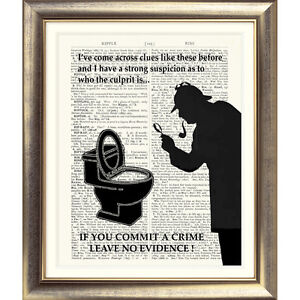 FUNNY-TOILET-SIGN-039-SHERLOCK-HOLMES-039-Art-Print-on-Original-Book-Page-Conan-Doyle