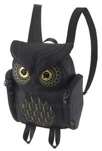 Owl ladies BLACK 3D backpack MORN CREATIONS Gold Stitches bag girl ...