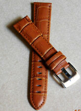 20mm PADDED LEATHER STRAP BAND FOR WATCH(TAN CROCO/LONG BUCKEL)