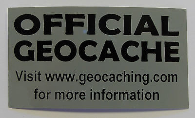 20 x Cache stickers for Geocaching gray print on matt black sticker
