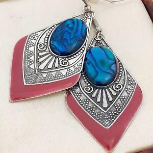 Vintage-Art-Deco-Style-Geometric-Large-Dangle-Blue-Abalone-Shell-Earrings