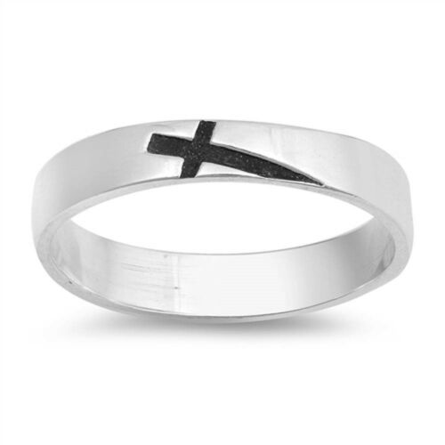 Sideways Cross Band .925 Sterling Silver Ring Taille 5-10