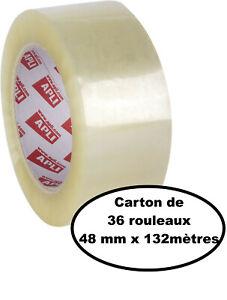 Lot de 36 rouleaux de ruban adhésif 48 mm x 132 m 28 µm Transparent APLI 13336 -