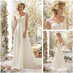 New-Blanc-Ivoire-Robe-de-mariee-mariage-soiree-wedding-dress-Taille-32-44