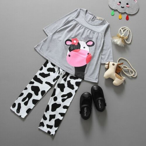 2pcs Toddler Baby Girls Long Sleeve Cow Tops+Pants Kids Cotton Clothes Outfits