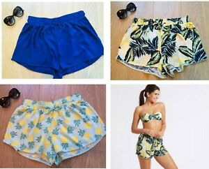 New-Ex-M-S-Ladies-Womens-Summer-Holiday-Tropical-Pineapple-Beach-Shorts-Casual