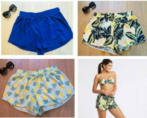 S L Donna Estate Vacanze Ananas Tropicale Pantaloncini Da Spiaggia Casual NUOVO Ex M