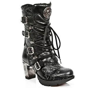 Style TR003 S8 Schwarz Damen New Rock Boots Womens Punk Gothic Stiefel