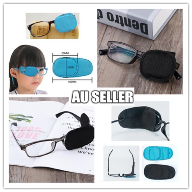 2Pcs Amblyopia Eye Patch for Glasses Kids Strabismus Lazy Eye Black Blue Patches
