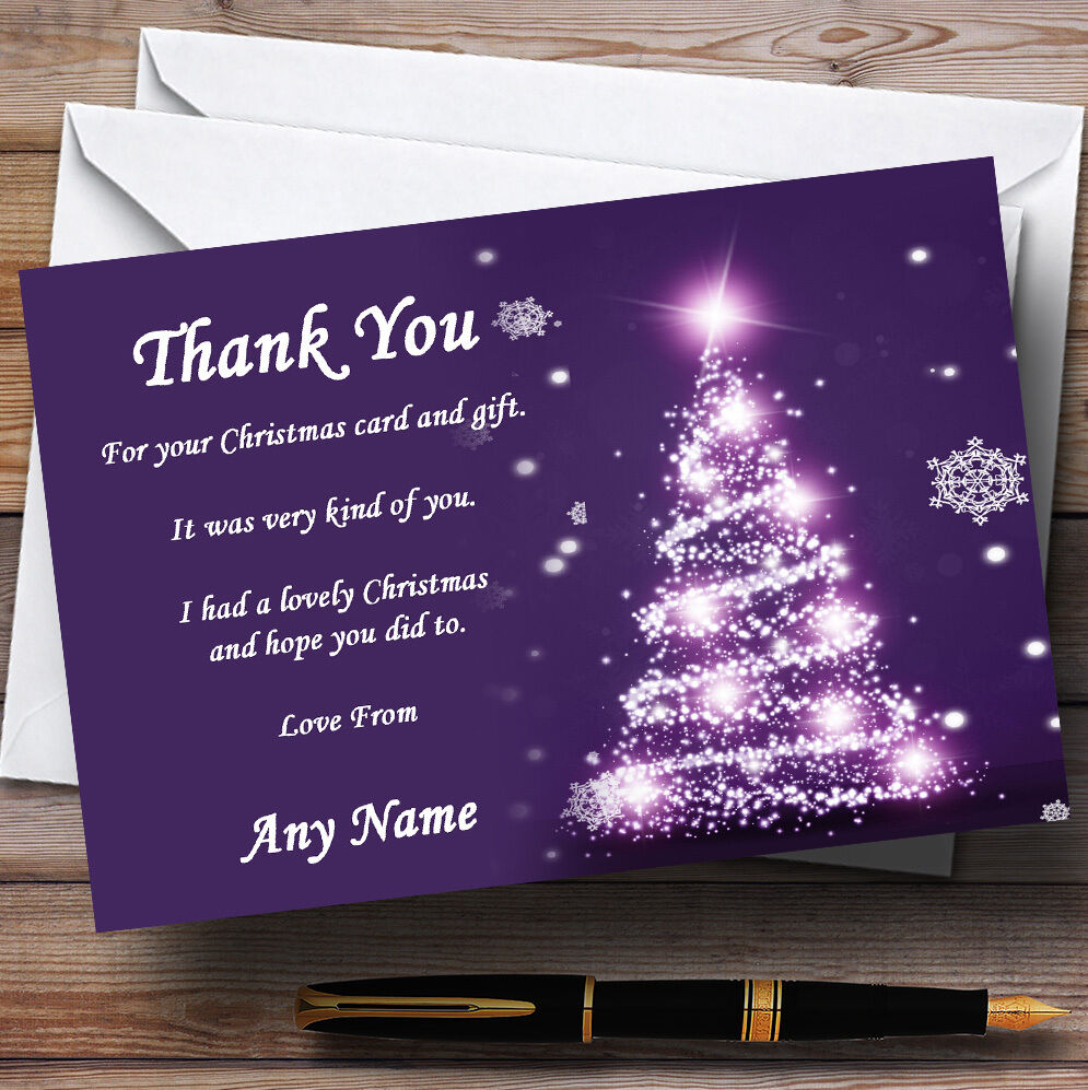 Pretty violet arbre Personnalisé Fête de Noël cartes remercieHommes remercieHommes cartes t 49d1f4