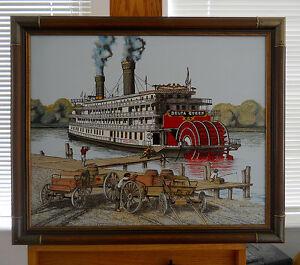 Original-H-Hargrove-Folk-Art-Oil-Painting-20x24-034-Delta-Queen-Riverboat-Steamboat